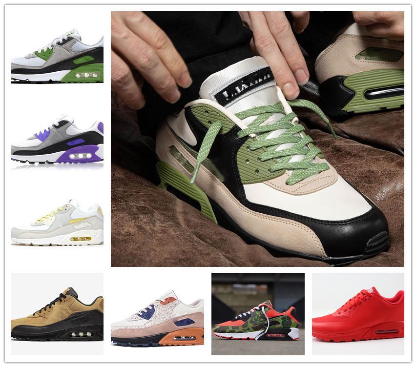 Venta 90 zapatos corrientes de los hombres de la OG 90 de Airs es zapatillas de deporte de la jalea real, Viotech láser fucsia Mixtape aterrizaje en Marte de infrarrojos de las mujeres US 7-12