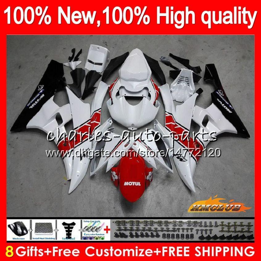 Body OEM voor Yamaha YZF R 6 600CC YZF 600 YZF-600 06-07 Frame 61HC.23 YZF-R6 YZF600 YZF R6 YZFR6 06 07 2006 2007 Fairing Kit rood wit heet