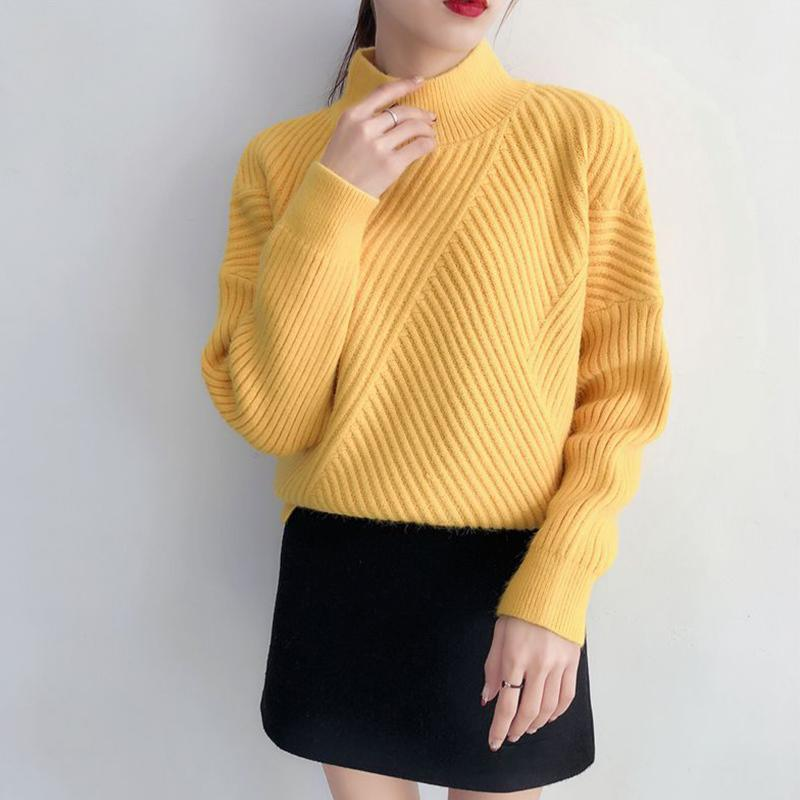 Women's Turtleneck Sriped Sweater 2018 Autumn Winter Female Korean Knitted Pullover Ladies Casual All Match Solid Warm Tops