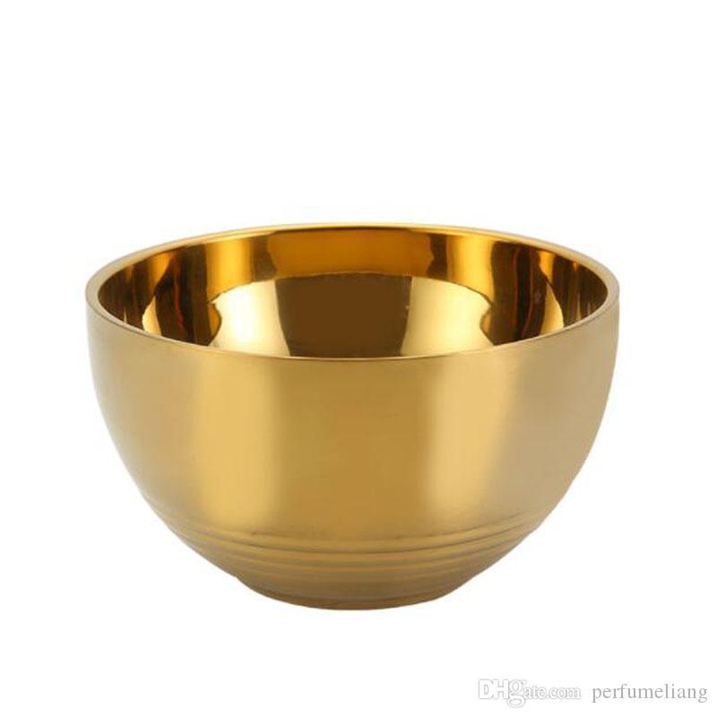 Camada Bowls Kitchen Soup Noodle Rice Bowl 11,5 centímetros de aço inoxidável espessamento Duplo Isolamento Térmico bacia do ouro ZC1642