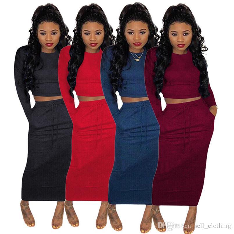 Automne Hiver femmes robe costume deux pièces brassière pull-over ensemble + jupes jupe paquet chandail couleur unie occasionnels de la hanche longue, plus la taille robe 2053