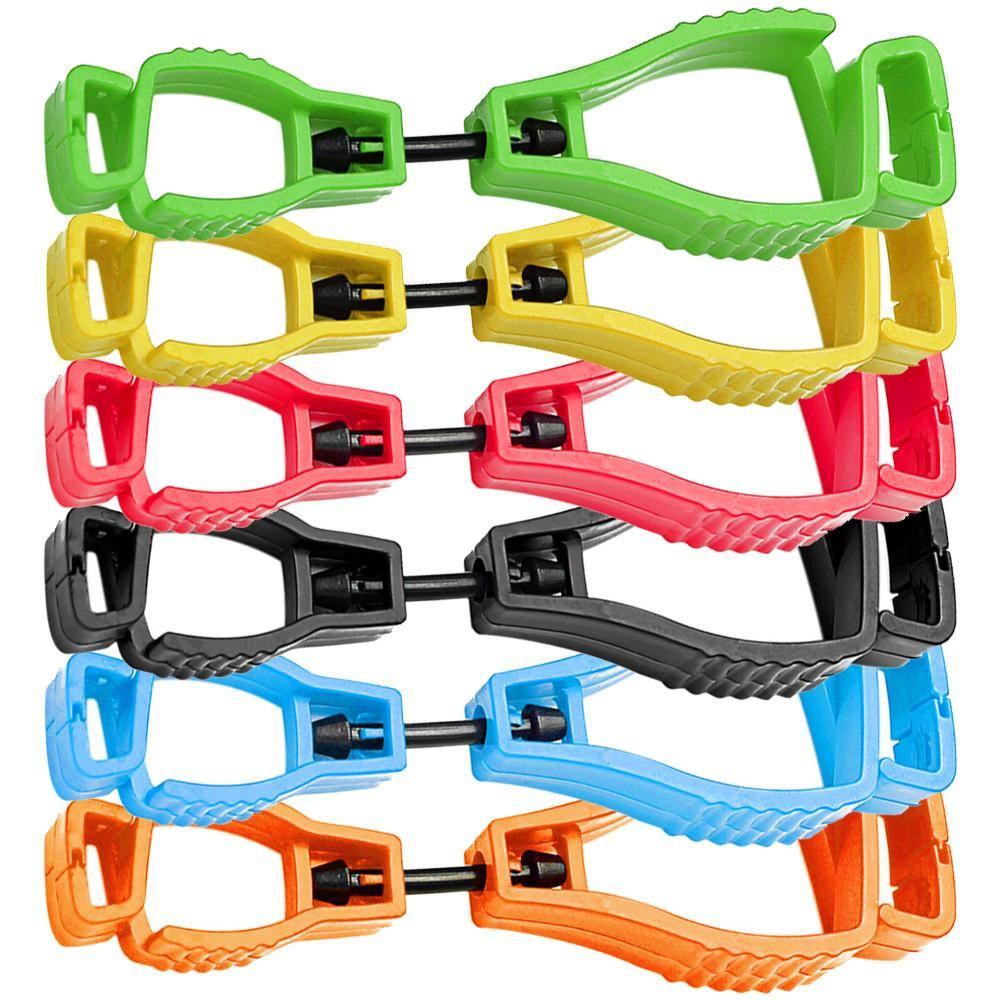 Clipes 300pcs 6 cores luva de plástico Clip Holder Hanger Guarda Trabalho Trabalho braçadeira Grabber Catcher segurança do trabalho Colo plástico