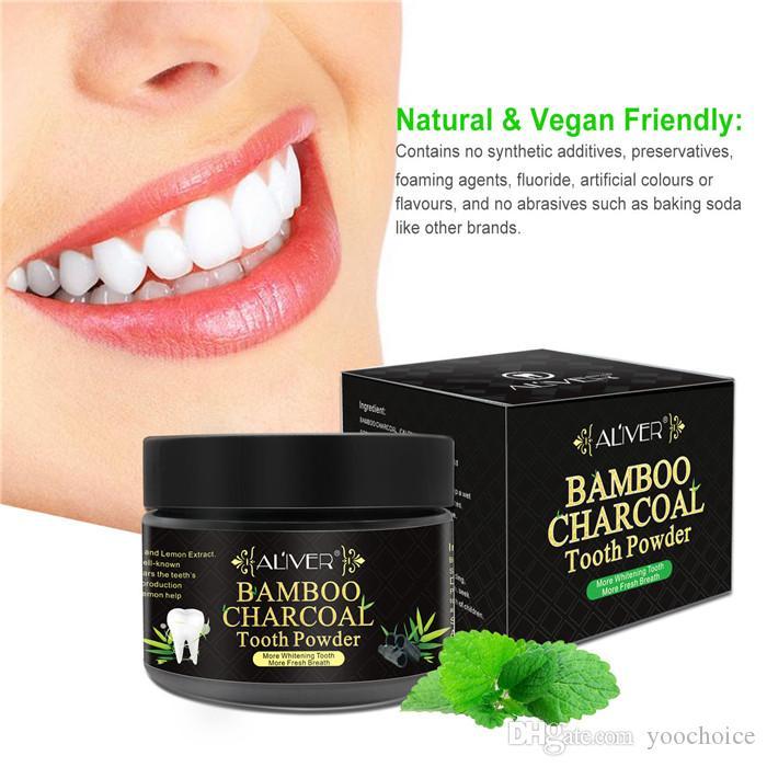 Aliver bambú Charcol para blanquear los dientes en polvo 50g higiene oral suero de limpieza elimina la placa manchas en los dientes Herramientas de pasta de dientes blanqueamiento dental