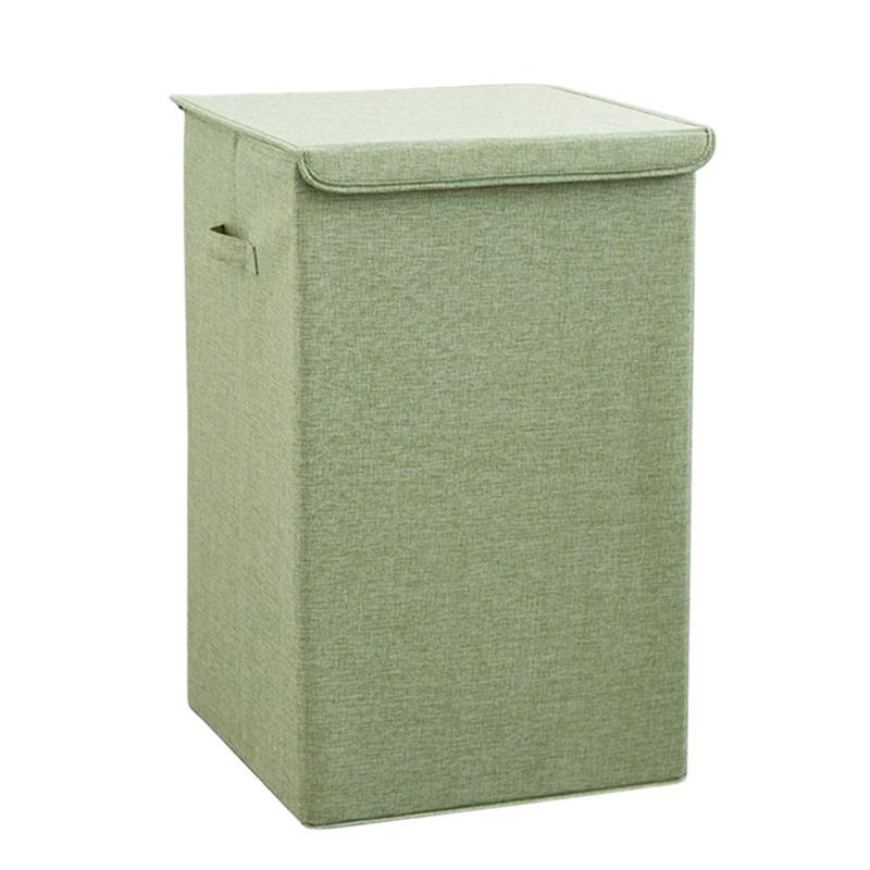 Algodón cesta de lavadero con la tapa de la cesta de lavadero baño cocina para guardar objetos Cesta Inicio plegable impermeable de lavandería Cesto (Verde