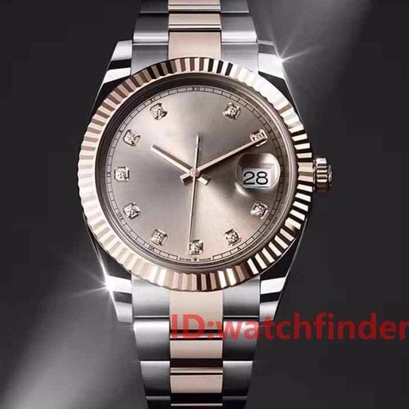 Rose Gold LuxuxMens Automatische DayDate Day-Date Präsident automatische Männer Uhr kannelierte Lünette-Uhr-Faltschließe Diamant-Uhren Armbanduhr