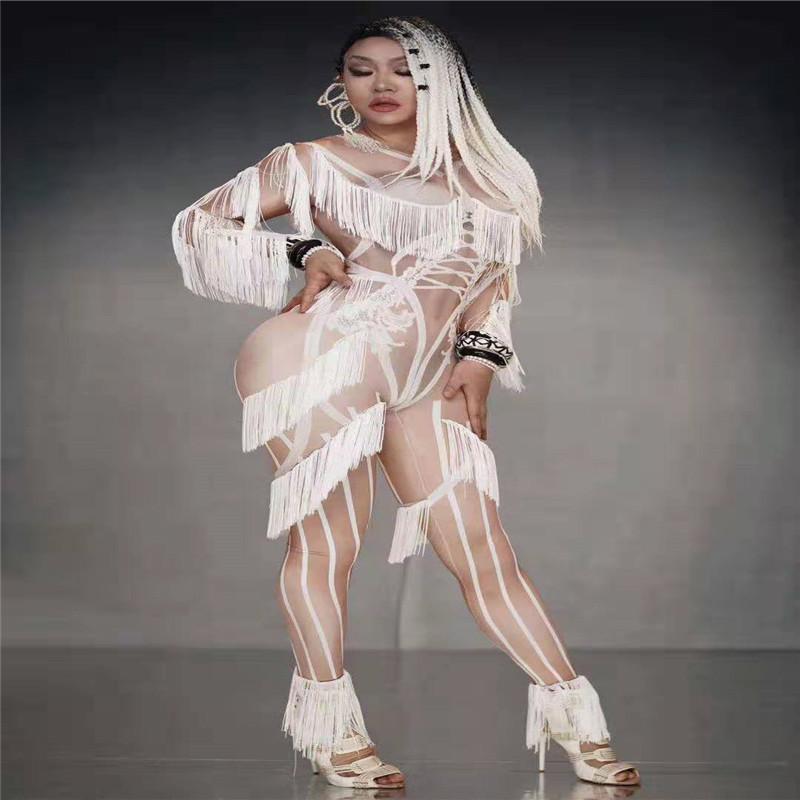 T14 blanc gland femme body combinaison élastique chanteur costumes de scène partie porte une combinaison effectuer tenue dj collants vêtir dj parti porte