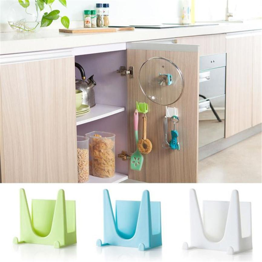 Wall Housekeeper Plastic Kitchen Pot Pan Cover Shell Cover Sucker Tool Bracket Storage Organizer Rack Hanger Dropshipping Y308