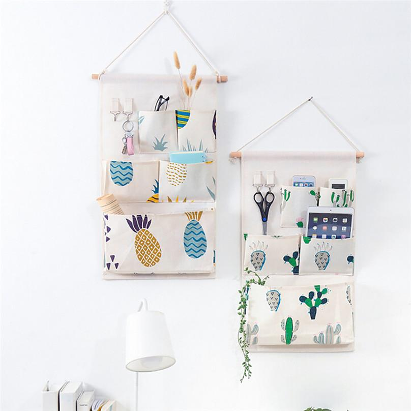 New Hanging Storage Bag Multiple Pockets Storage Hanging Bag Wall Mounted Door Pouch Room Organizer Underwear Socks Bag#25j10