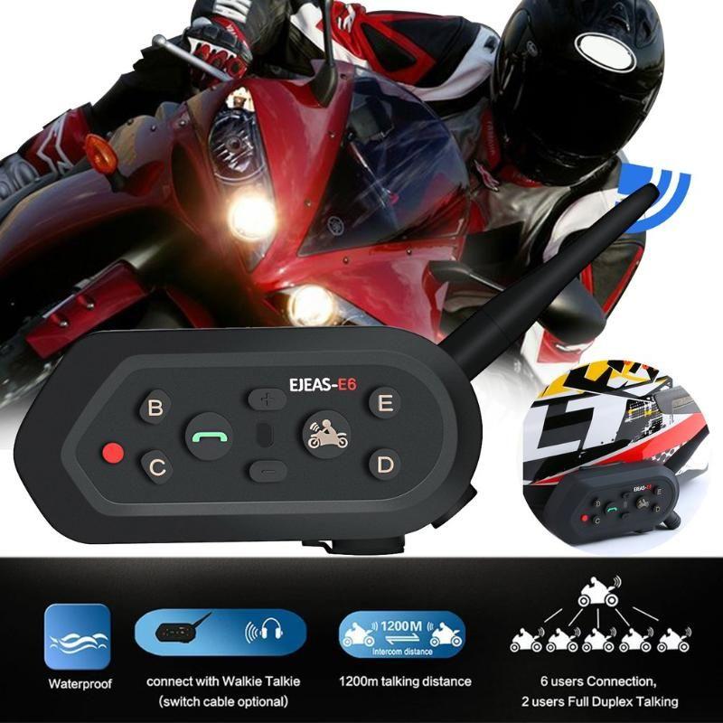 1 Motorcycle Walkie-talkie Headset Outdoor Full-duplex em tempo real Chamada Capacete sem fio Intercom Headset E6