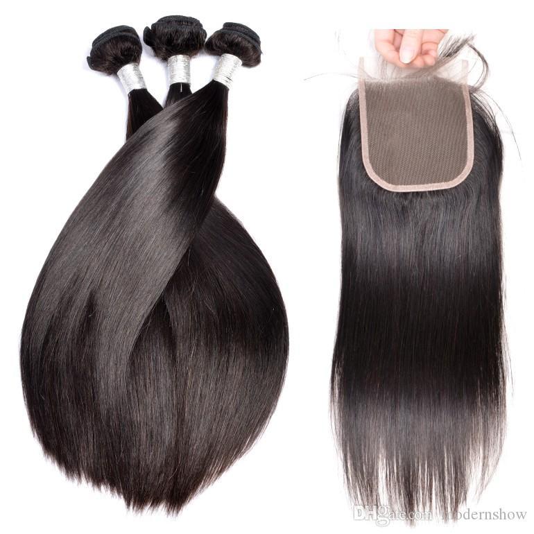 9A 100 غير المجهزة الإنسان ينسج الشعر مع إغلاق الحرير مستقيم البرازيلي بيرو ريمي الشعر حزم مع إغلاق