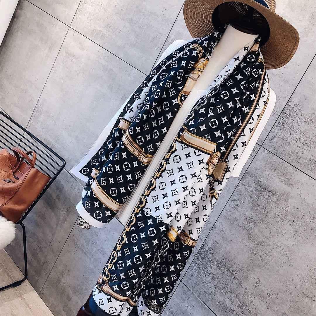 2020 Sciarpa di lusso della protezione solare di seta stampa foulard a marchio Tide donne calde Beach Lettera moda scialle sciarpa di alta qualità ad anello lungo collo