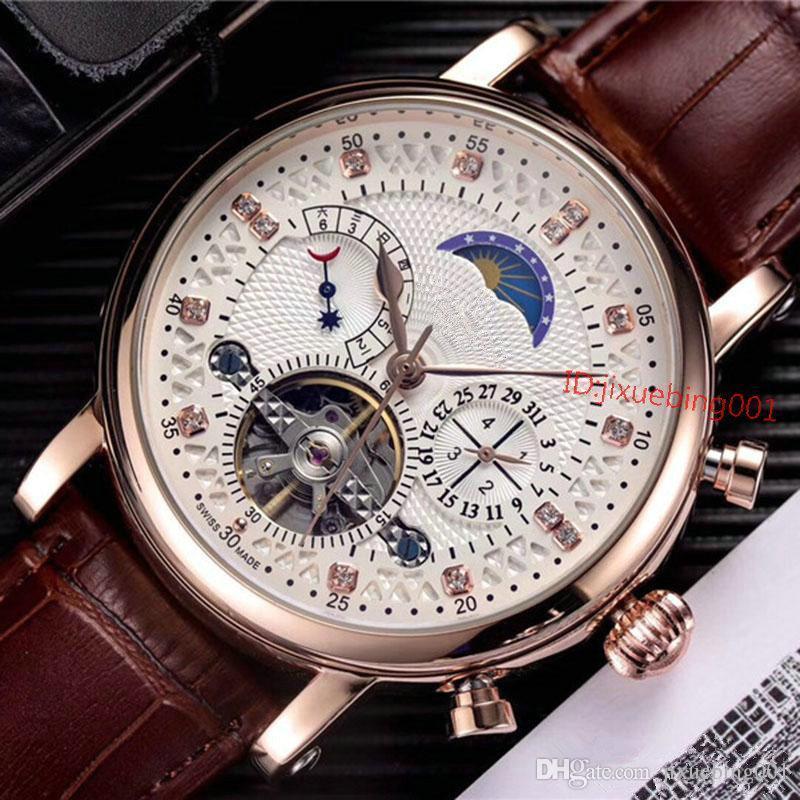Nuova promozione di cuoio di lusso orologi uomini Brown classico orologio Relogio Masculino Oro meccanico automatico di Mano-bobina tourbillon