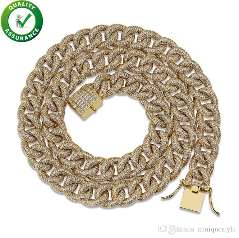 Hip Hop Jewelry Luxury Designer Necklace Mens Cuban Link Gold Iced Out Chains Bling Diamond Necklaces Rapper Fashion Pandora Style Charms
