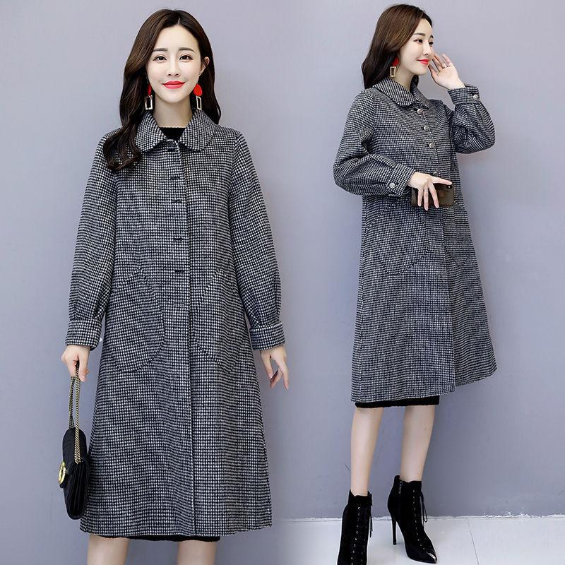 Las mujeres otoño invierno Capa Caliente mezclas de lana larga capa a cuadros Mujer abrigos de moda Outwear la chaqueta más el tamaño