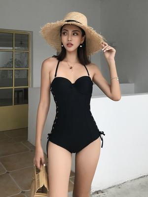 Tide Brand Black Rivet Swimsuit Lace-Up One-Piece Swimsuit Big Small Breasts Gathered Sexy Cover Tummy Conservative Swimsuit Woman