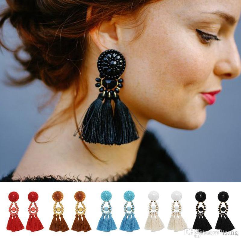 10 가지 색상 보헤미안 성명 술 매달려있는 귀걸이 여성 빈티지 민족 드롭 프린지 패션 쥬얼리 쥬얼리 선물