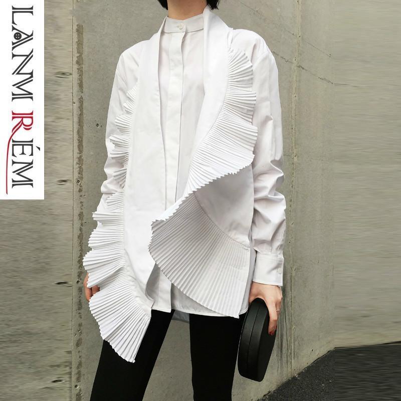 Lanmrem 2019 Bahar Yeni Kadın Düzensiz Gömlek Casual Moda Pileli Dekoratif Beyaz Bluzlar Kadın Tasarım Kadın Giyim Yg638 J190615