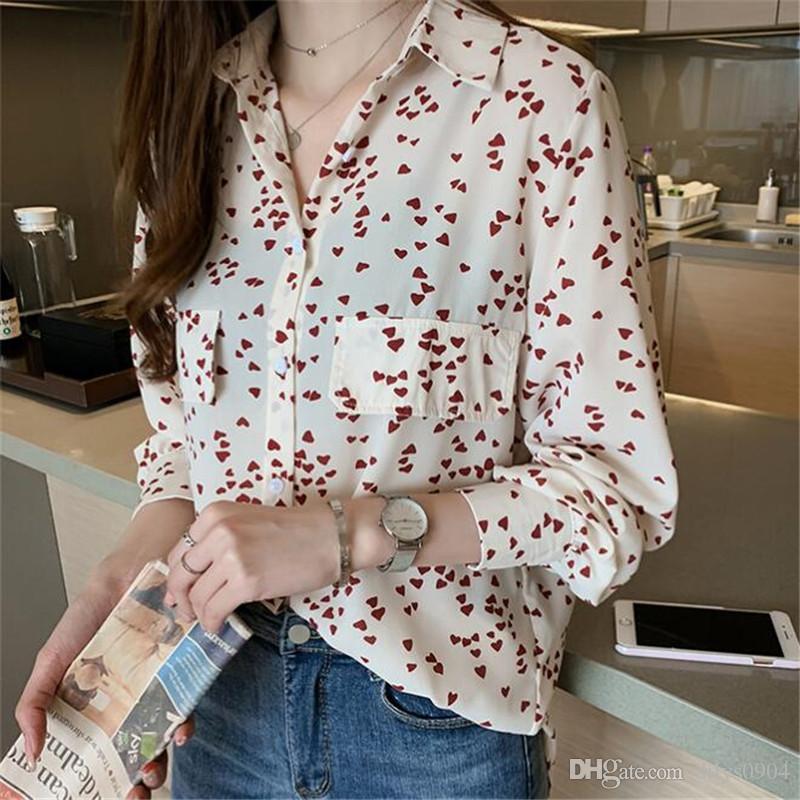 Мода роскошный дизайнер женские одежда блузки с длинным рукавом рубашки женские топы весна новая дикая джокер тощая любовь печатает досуг во времени рубашка