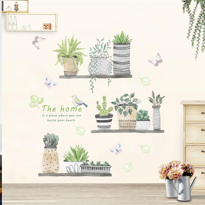 garden plant bonsai flower butterfly wall stickers home decor living room kitchen pvc wall decals diy mural art decoration D19011702
