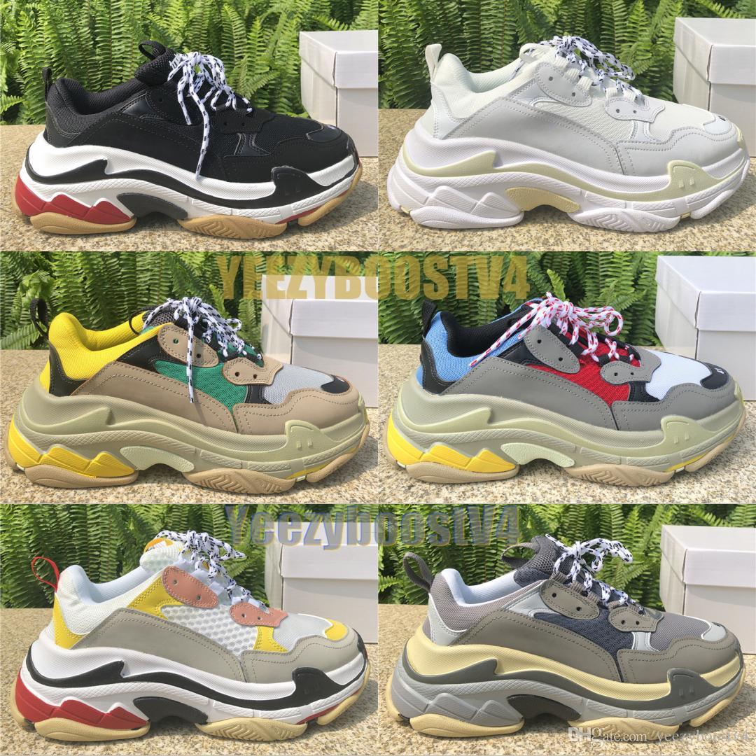 트리플 S 트리플 블랙 남성 여성 화이트 클리어 유일한 패션 신발 CHAUSSURES 분할 블랙 그레이 캐주얼 신발 36-45