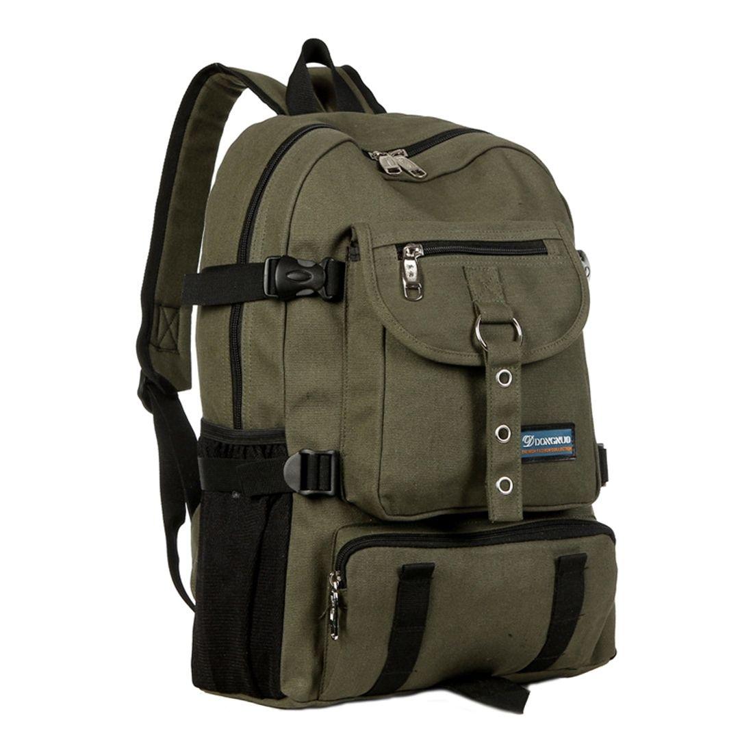 Arcuate Shoulder Strap Zipper Casual Bag Backpack School Bag Canvas Clasp Mountaineering Shoulder Bag Casual