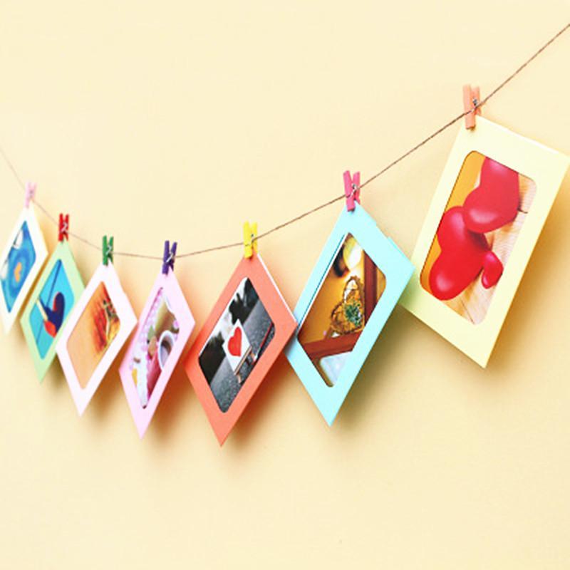 21 قطعة / المجموعة ورقة إطار الصورة إطار الصورة مع مقطع خشبي و سلسلة diy شنقا الجدار صورة حفل زفاف عيد الديكور