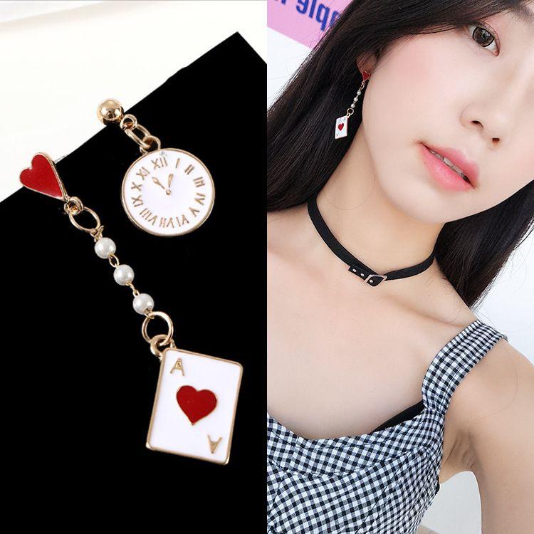 Girl fantasy clock poker cute creative earrings earrings asymmetric hypoallergenic earrings female