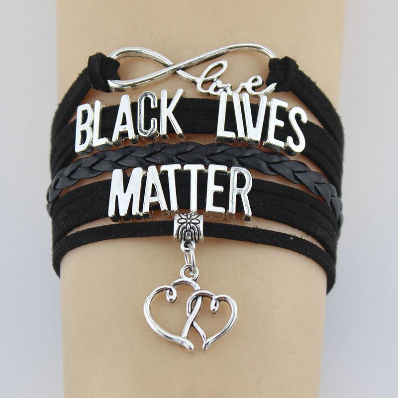 kadınlar erkeklerin takı CNY2177 için Bilezikler Infinity Siyah Hayatlar Matter isa cazibesi deri örgü şal bilezik bilezikler