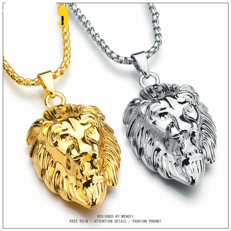 Joyería de Hip Hop grande caliente de la cabeza del león colgante color oro Cadena Figaro Para Hombres Declaración Kpop collar Collier cadenas de oro al por mayor para los hombres