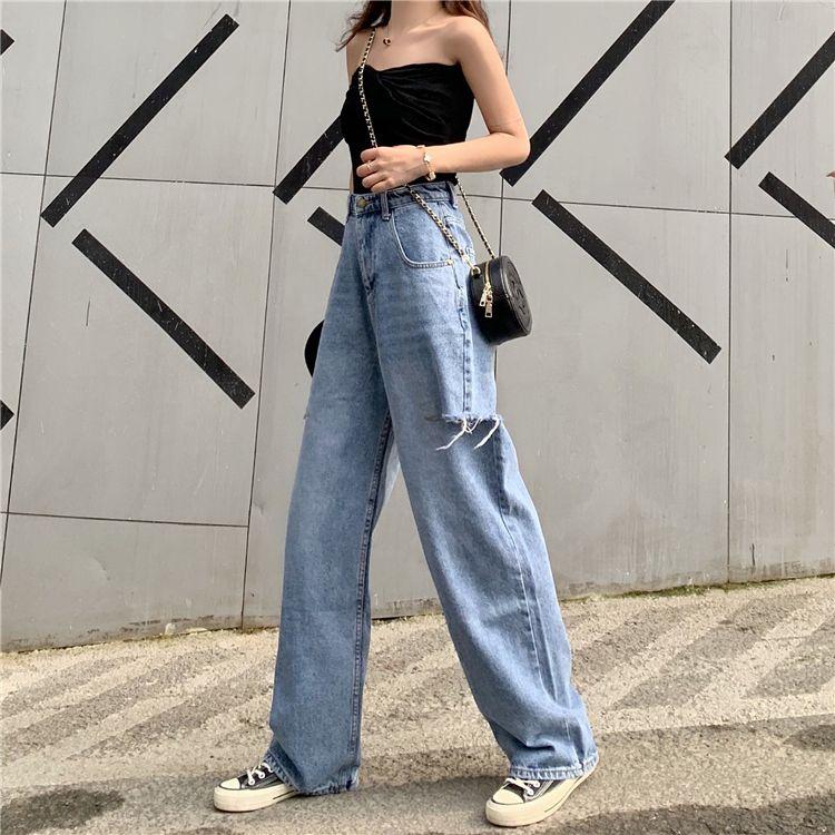 JinYiLai Azul Escuro Harlan Pentear Jeans Feminino