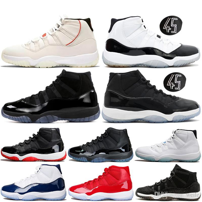 Platinum Tint Concord 45 11s Mens Scarpe da Basket Jumpman 11 Donne Prom Night Legend Blu Bred Cap and Gown Sport Retros Sneakers Scarpe da ginnastica