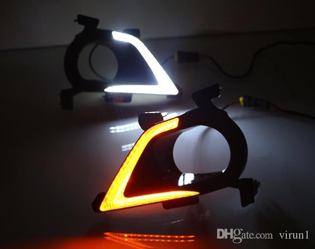 1 pair drl لتويوتا إنوفا 2015 2016 drl الصمام ضوء العرض drl إشارة ضوء مصباح الضباب النهار الجري الخفيف
