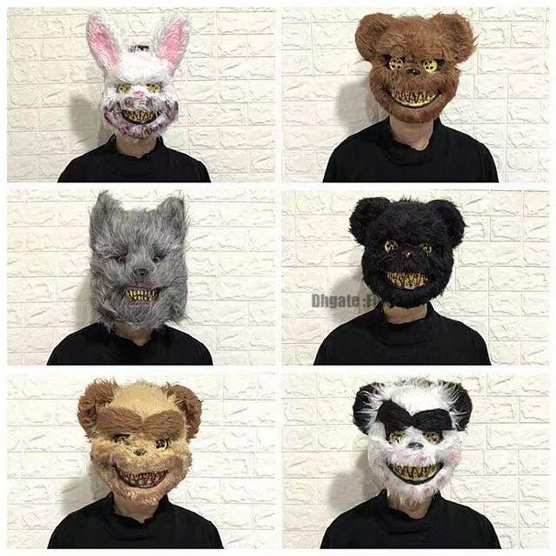 Maschera da coniglio spaventoso di coniglio di Halloween per uomo Ragazzi Maschera di testa di animale inquietante sanguinante Maschera di coniglio di peluche spettrale Costume di Pasqua Cospaly rosa sanguinante
