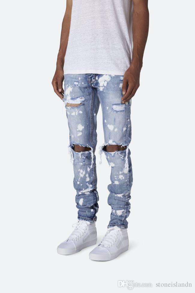 Impreso para hombre lavada vaqueros del agujero de Verano flaco de moda de luz azul blanqueado lápiz de los pantalones vaqueros de Hiphop Street