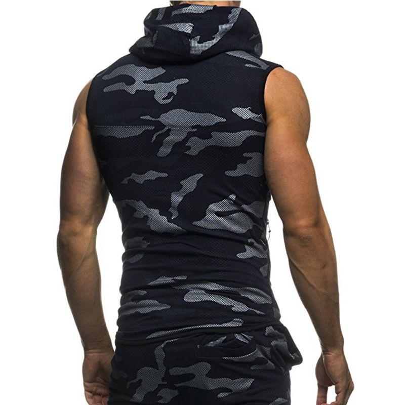 3aeb085256787 Hot Sale Men Vest 2018 Fashion Camouflage Sleeveless Hooded Jacket Casual  Slim Fitness Workout Waistcoat Plus Size Men Clothes