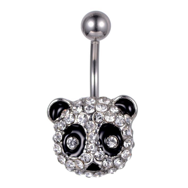 D0695 (1 farbig) Klarer Panda-Stil Nabel-Knopfring-Ring Piercing Body Jewlery