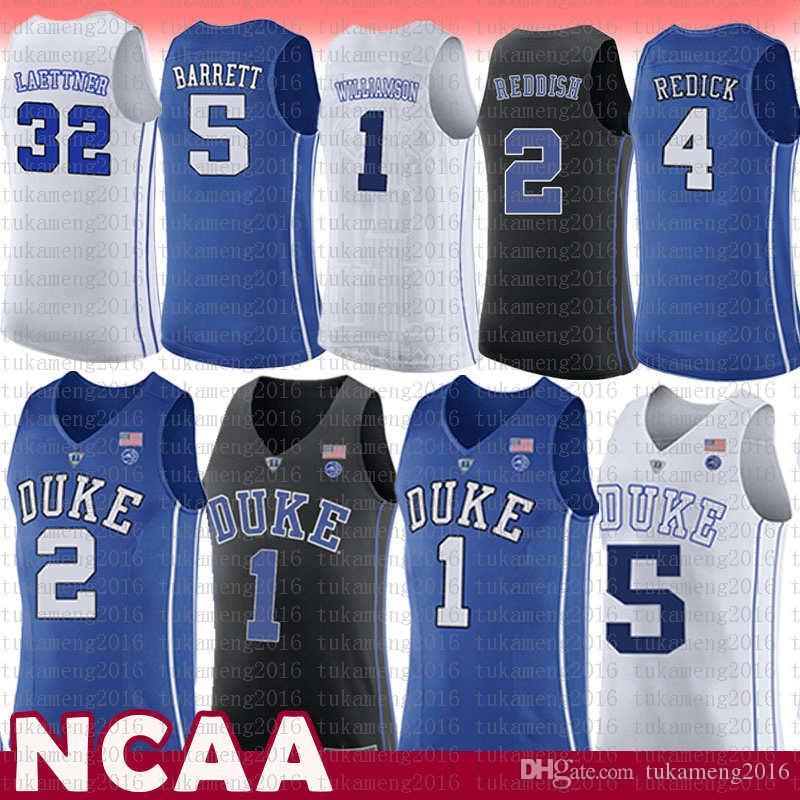 1 صهيون ويليامسون ديوك الزرقاء الشياطين NCAA كلية كرة السلة جيرسي 2 كاميرا المحمر 5 RJ باريت 32 مسيحي Kyrie Laettner 4 J.J ريديك ايرفينغ