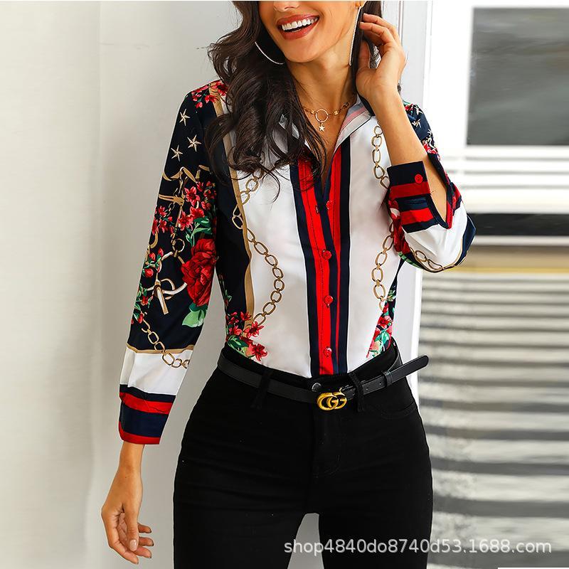 Cadena Flor Impreso Viajero Camisas Ropa profesional de negocios
