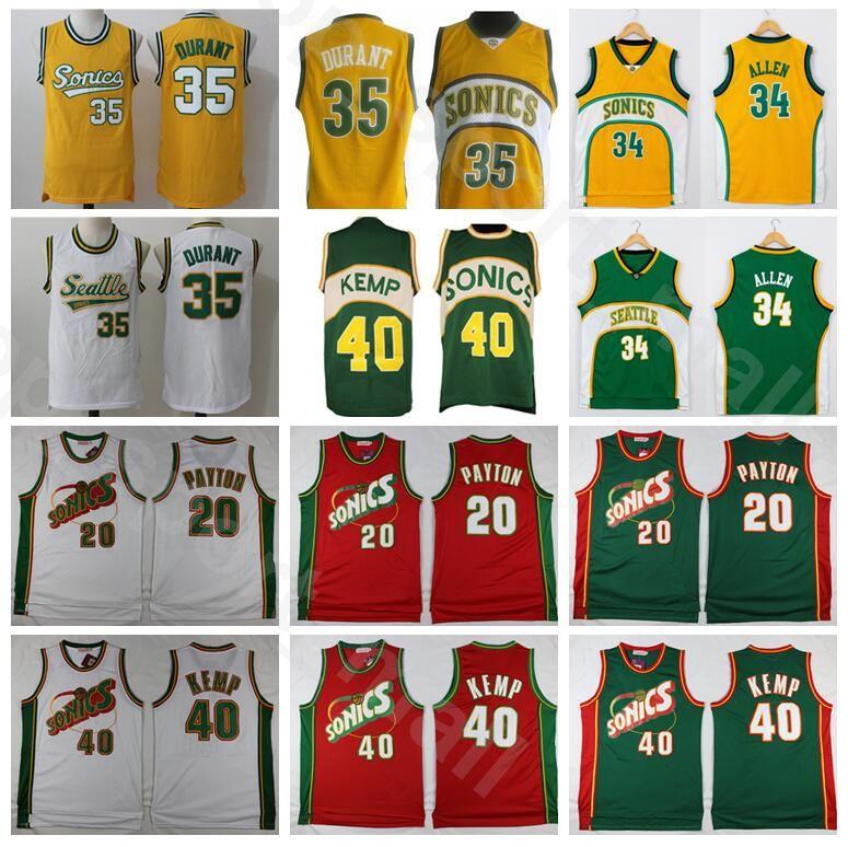 Homens Basketball Shawn Kemp Jersey Gary Payton Kevin Durant Ray Allen costurado Verde Amarelo Vermelho Branco Casa Fora respirável Boa Qualidade