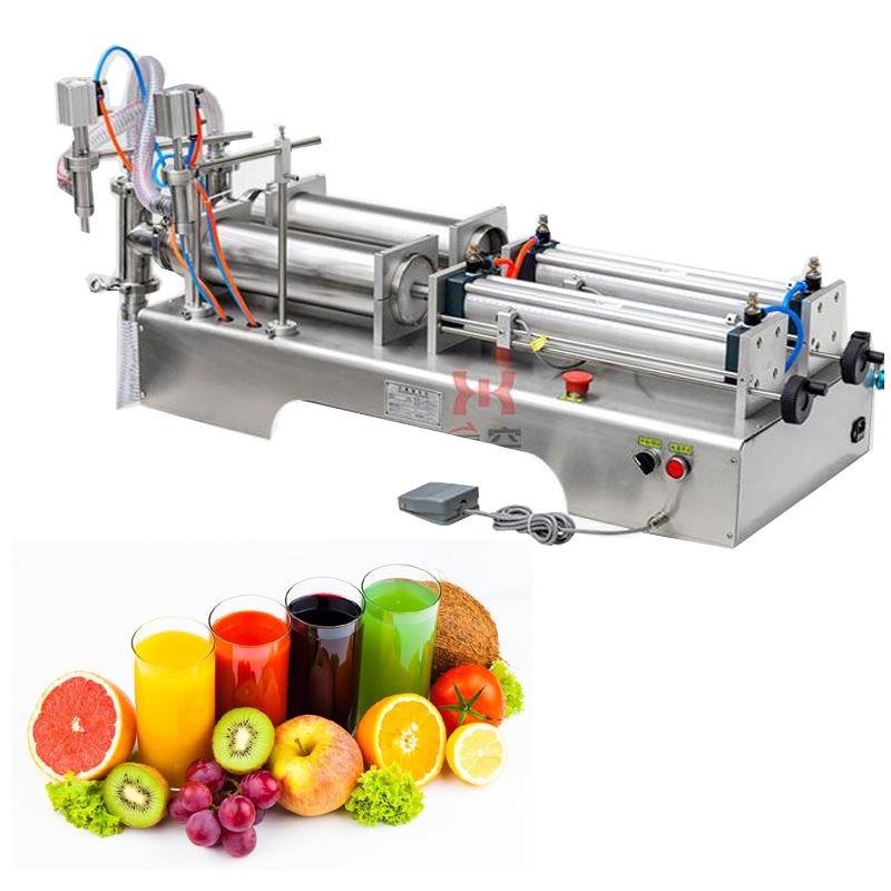 10W pneumatic piston filling machine for olive oil beverage white wine pure water soy sauce vinegar double head liquid packaging machine