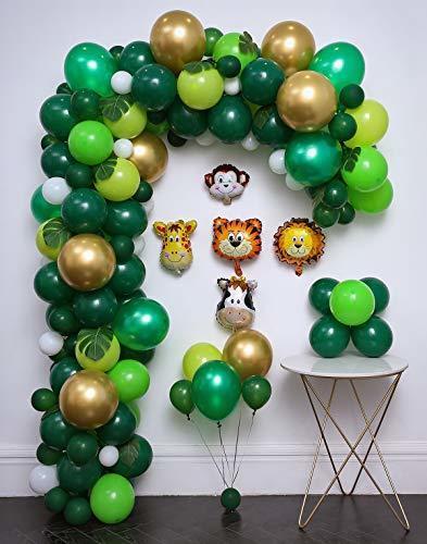 110pcs Unicorn Theme Safari Party Розовый Синий Белый Зеленый шар Garland Arch Набор для венчания День рождения Baby Shower Party Decor T200526