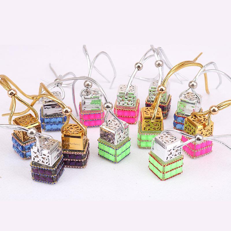Küp Parfüm Şişesi Elmas Parfüm Cam Şişeler Araba Asılı Parfüm Dikiz Süsleme Halat Kolye Boş Şişe Araba Hava Spreyi GGGA2104
