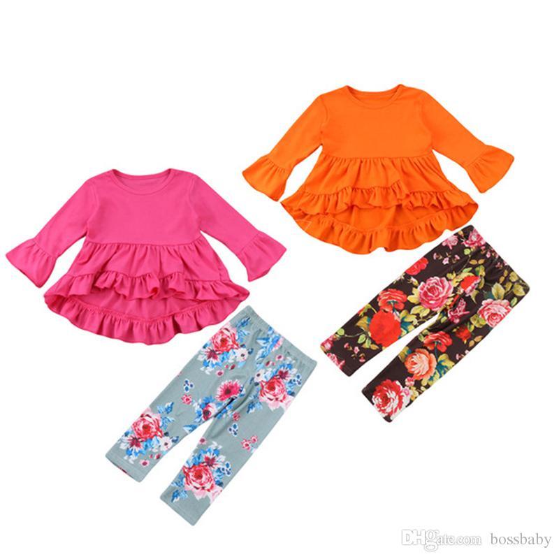 Baby Pritned gesetzter Mädchen-Fest Horn Langarm Tuxedo Kleid-Kind-Freizeit Kleidung Säuglingsbaby-Blumen gerade Hosen-Anzug