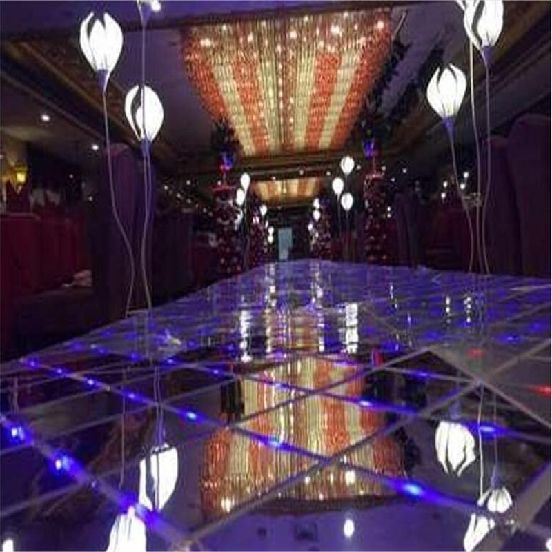 60 * 60 cm Brillo LED Flash Espejo Alfombra Pasillo Corredor Bar Club Boda T Estación Decoración de escenario Accesorios Nueva llegada Envío gratis