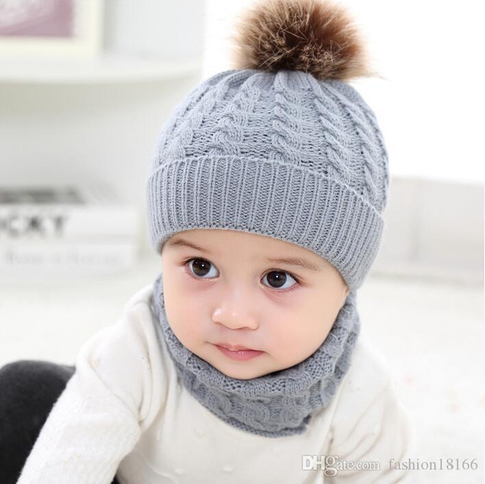 New Kids Hat Bib Baby Set Acrylic Wool Ball Cap Autumn Winter 0-36 Month Baby Hat