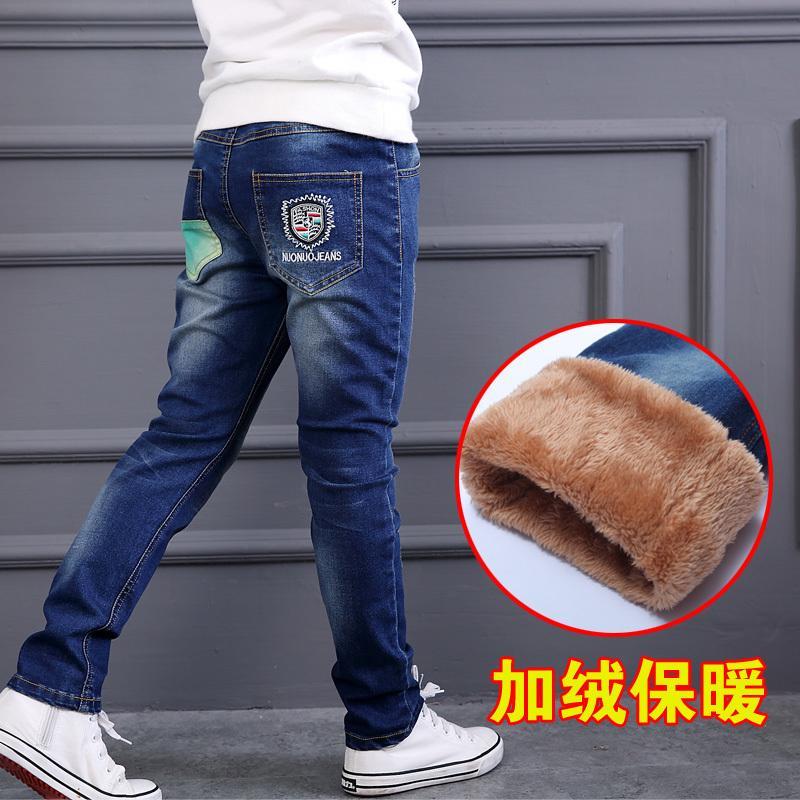 Famli Hot Sale Boys Jeans Casual Child Plus Velvet Pants Winter Kids Jeans Boys 4-14y Thicking Warm Denim Trousers Free Shipping J190517
