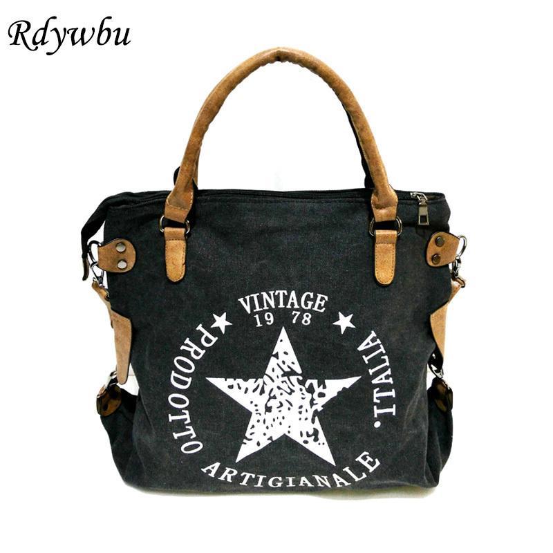Rdywbu Vintage Big Star Printed Canvas Tote Handbag - Women's Multifunctional Travel Shoulder Bag Letters Messenger Bolsos B211 Y190626