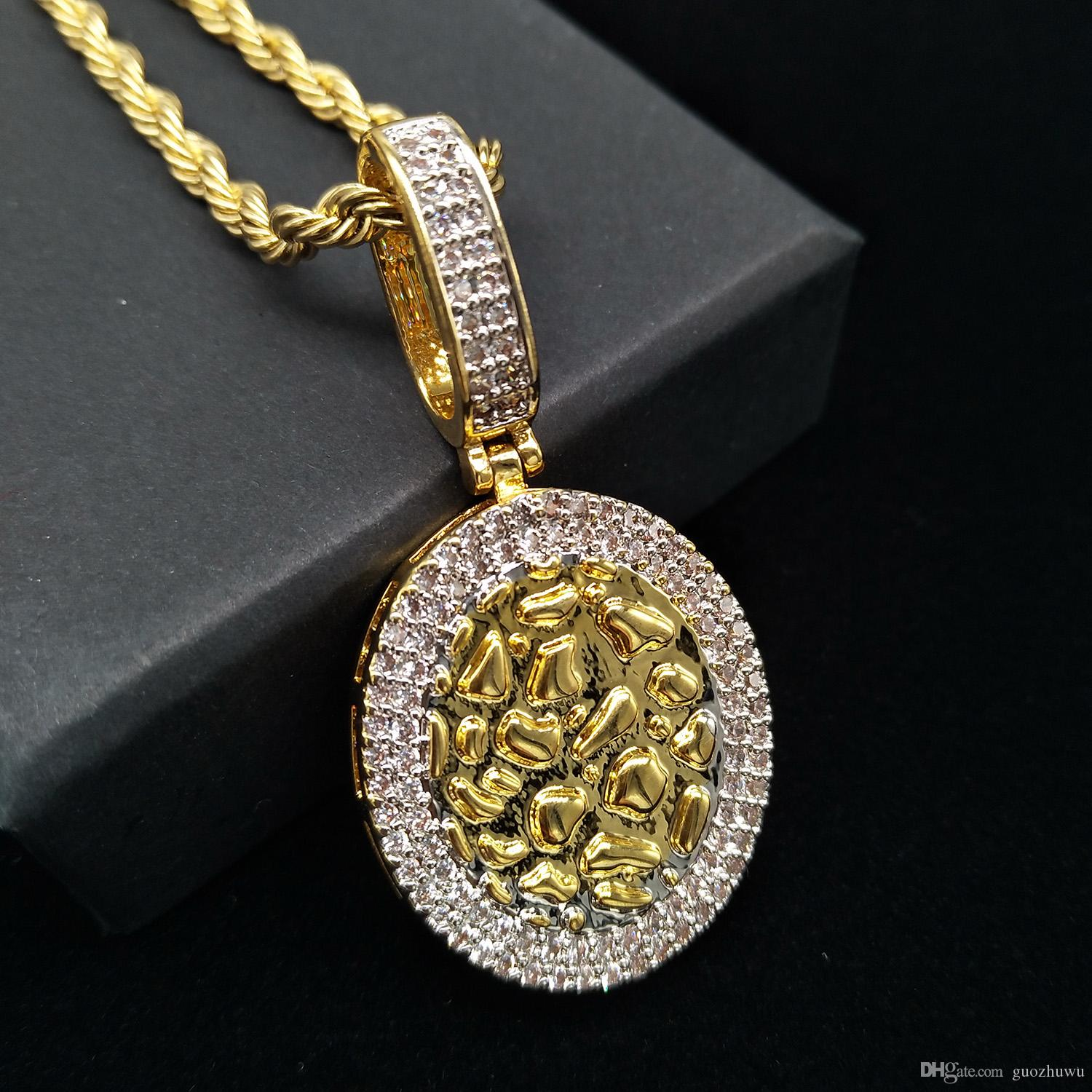 18K Gold & White Gold Plated Cubic Zirconia Round Gold Bullion Pendant Chain Necklace 24 inch Hip Hop Punk Rock Rapper Jewelry Gifts for Guy