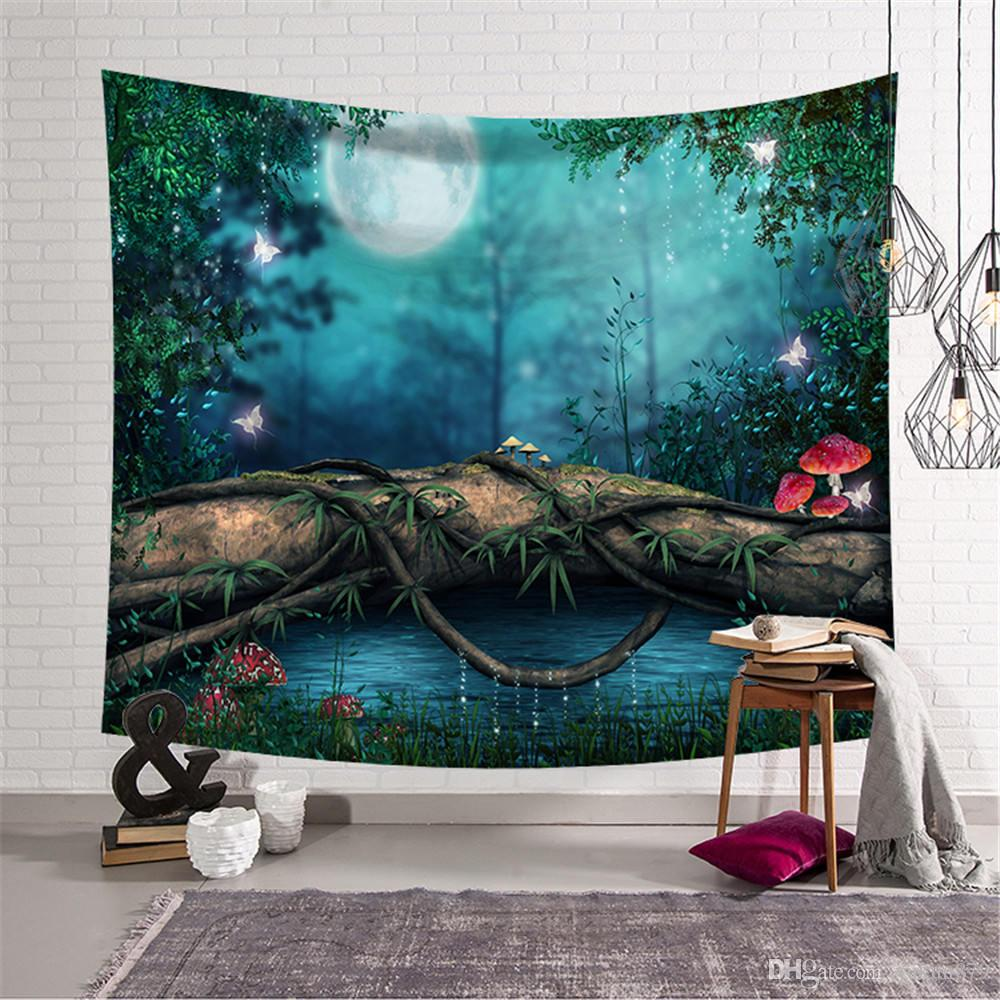 High Quality Tapestry Background Dreamy Forest Home Cloth Beach Towel Living Room Decoration Wall decoration ECO Friendly