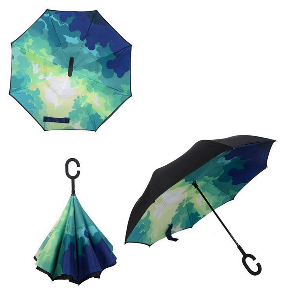 Inversa Umbrella C punho reverso Sunscreen Chuva Windproof Proteção Folding Duplo-camada LJJP66 Favor invertido diversos Partido Household